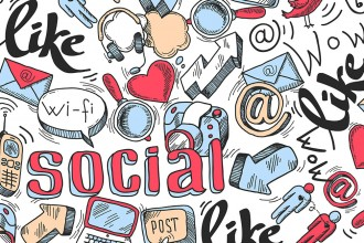 Doodle speech bubble icon with social media infographics isolated  illustration